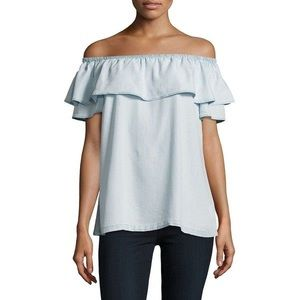 H by Halston Ruffled Off the Shoulder Chambray Top